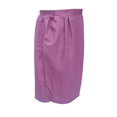 Deep Mauve Knee Length Skirt W/ Elastic Waist & Front Pockets Size 18