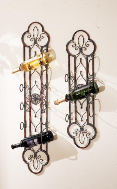 CC Home Furnishings Pack of 4 Elegant Open Back Wall Mounted Wine Racks