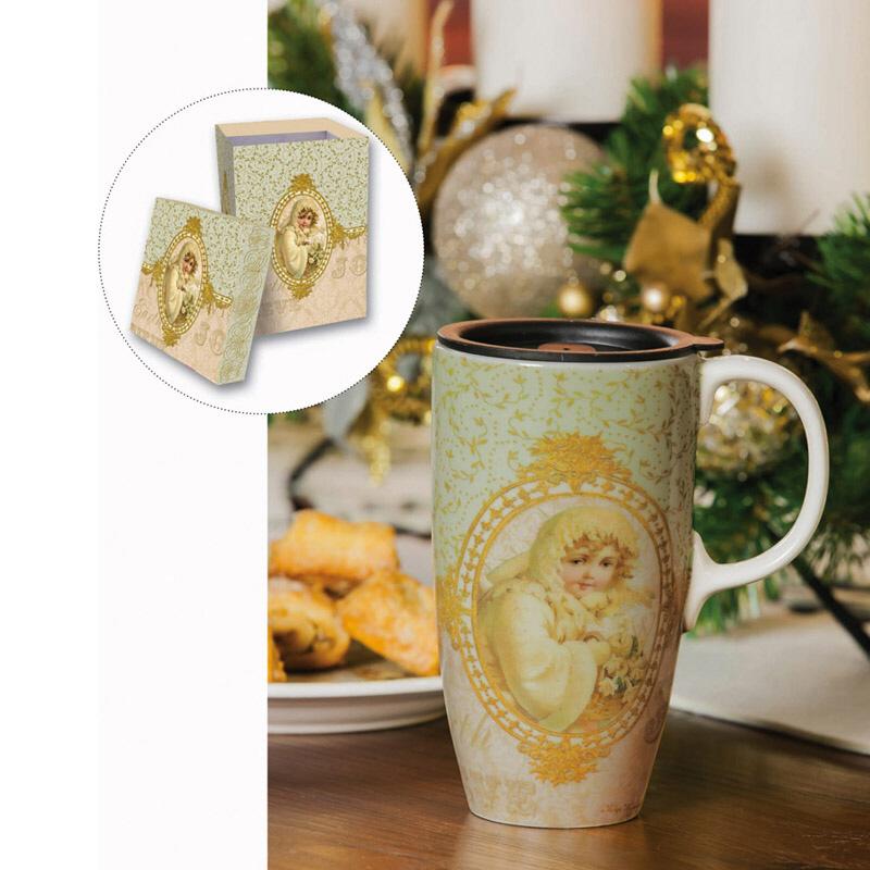 Cypress Home 17oz Darling Winter White and Yellow Child Printed Ceramic Travel Mug W/Gift Box