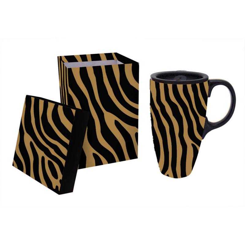 Cypress Home Extracts Black Zebra Ceramic Latte 17 oz. Travel Mug w/ gift box at Sears.com