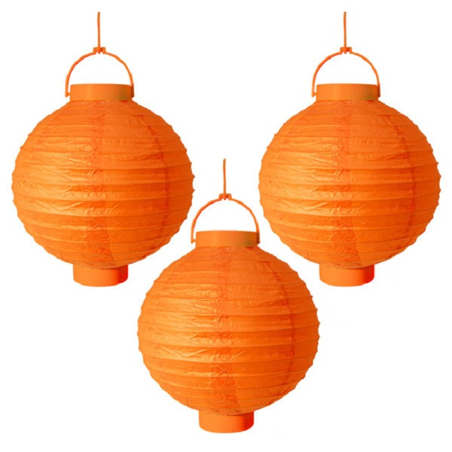 "CC Outdoor Living Pack of 3 Lighted Battery Operated Orange Garden Patio Chinese Paper Lanterns 8"" at Sears.com"