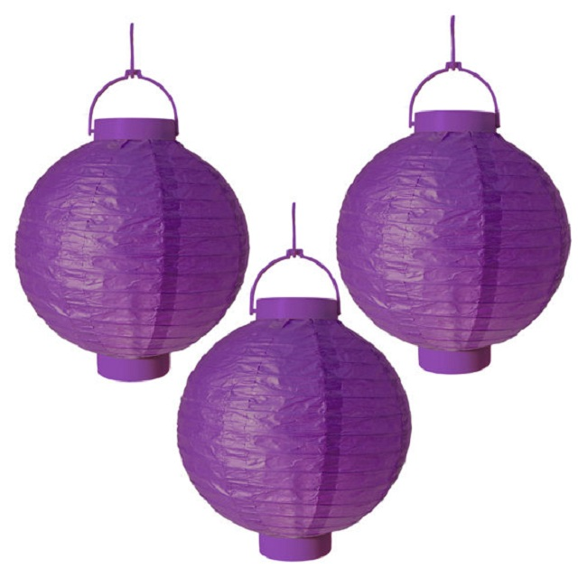 "CC Outdoor Living Pack of 3 Lighted Battery Operated Purple Garden Patio Chinese Paper Lanterns 8"" at Sears.com"