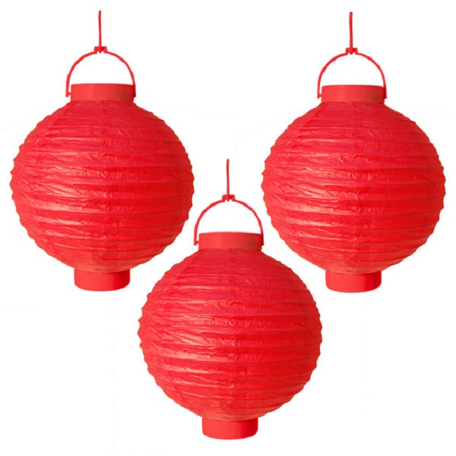 "CC Outdoor Living Pack of 3 Lighted Battery Operated Red Garden Patio Chinese Paper Lanterns 8"" at Sears.com"