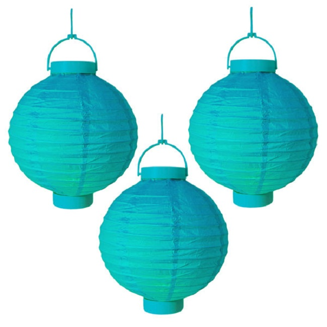 "CC Outdoor Living Pack of 3 Lighted Battery Operated Turquoise Garden Chinese Paper Lanterns 8"" at Sears.com"