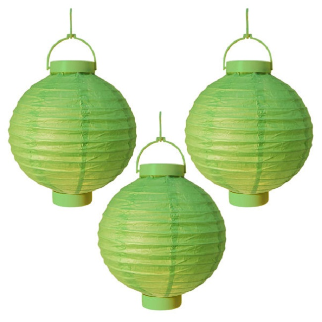 "CC Outdoor Living Pack of 3 Lighted Battery Operated Green Garden Patio Chinese Paper Lanterns 8"" at Sears.com"