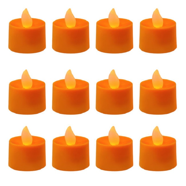 CC home Furnishings Club Pack of 12 LED Lighted Battery Operated Orange Tea Light Candles at Sears.com