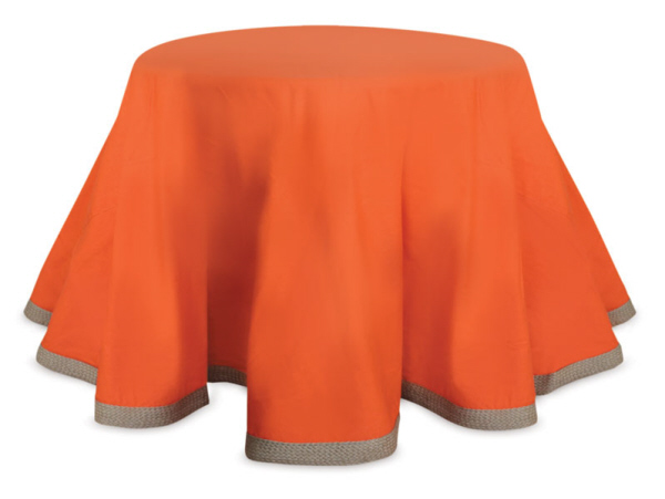 "Melrose 96"" Decorative Bright Orange Round Table Cloth With a Burlap Edge at Sears.com"