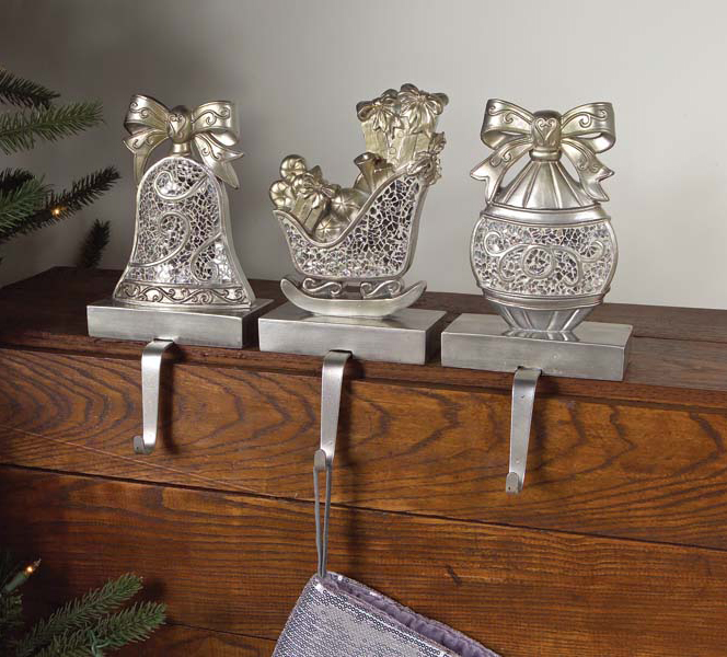 3 winter 39 s blush silver mosaic stocking holders 8 ebay for Best stocking holders
