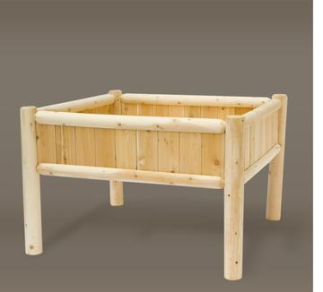 CC Home Furnishings 4' x 4' Natural Cedar Outdoor Patio Garden Raised Flower Planter Bed