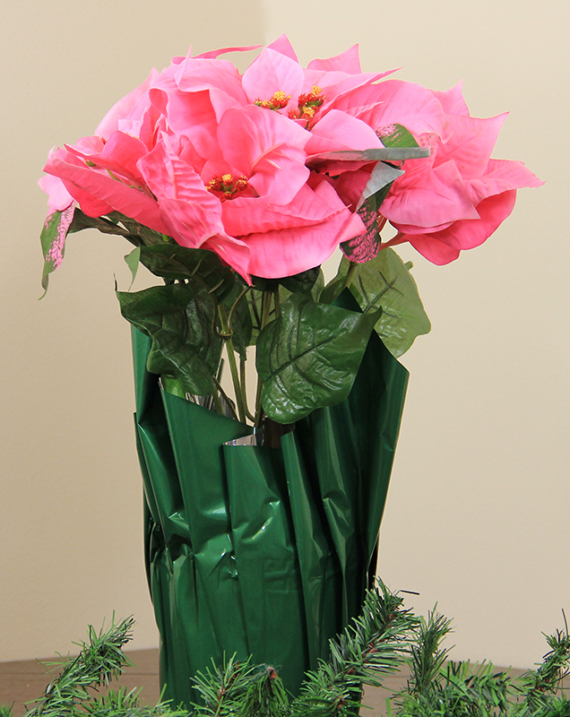 "LB International 24"" Pink Artificial Poinsettia Potted Christmas Plant with Green Foil Covering at Sears.com"
