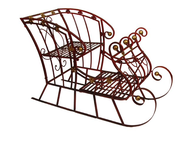 Details about 2 red and gold metal christmas sleigh decoration