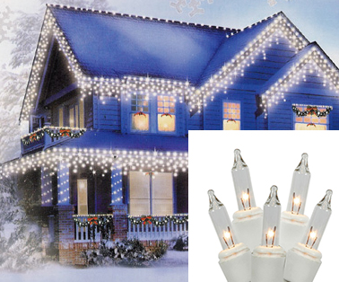 Hofert Set of 300 Clear Everglow Mini Icicle Christmas Lights - White Wire at Sears.com