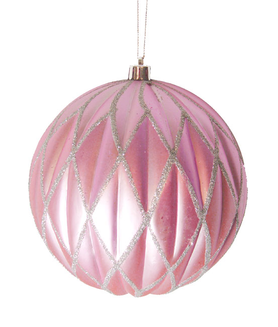 "CC Christmas Decor Bubblegum Pink Glittered Lattice Shatterproof Christmas Ball Ornament 6"" (150mm) at Sears.com"