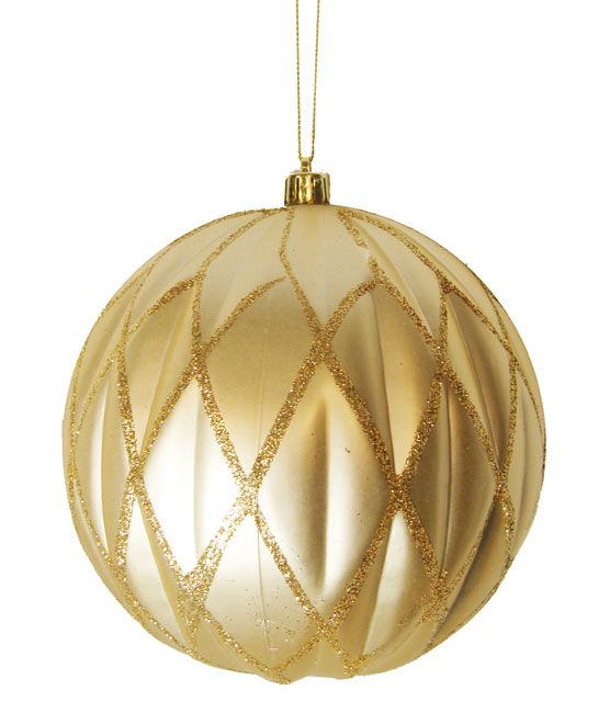 "CC Christmas Decor Champagne Glittered Lattice Shatterproof Christmas Ball Ornament 6"" (150mm) at Sears.com"