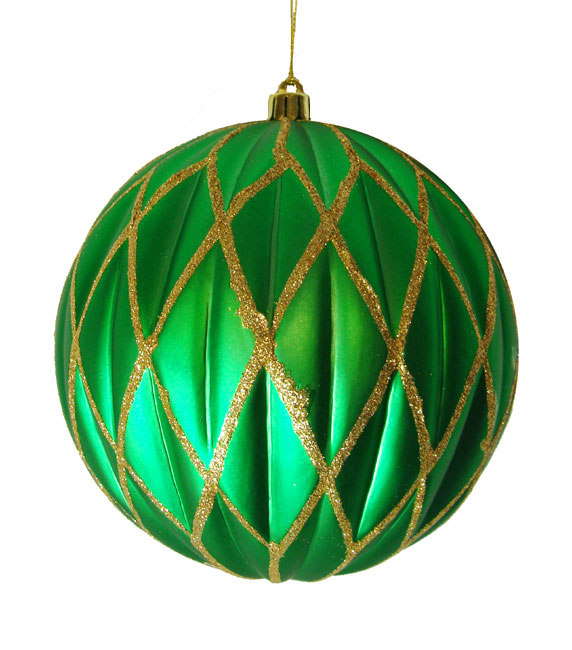 "CC Christmas Decor Emerald Green Glittered Lattice Shatterproof Christmas Ball Ornament 6"" (150mm) at Sears.com"