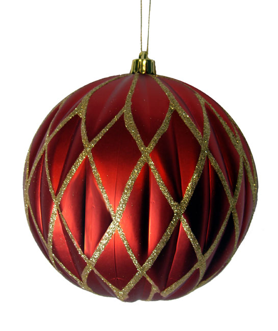 "CC Christmas Decor Red and Gold Glittered Lattice Shatterproof Christmas Ball Ornament 6"" (150mm) at Sears.com"
