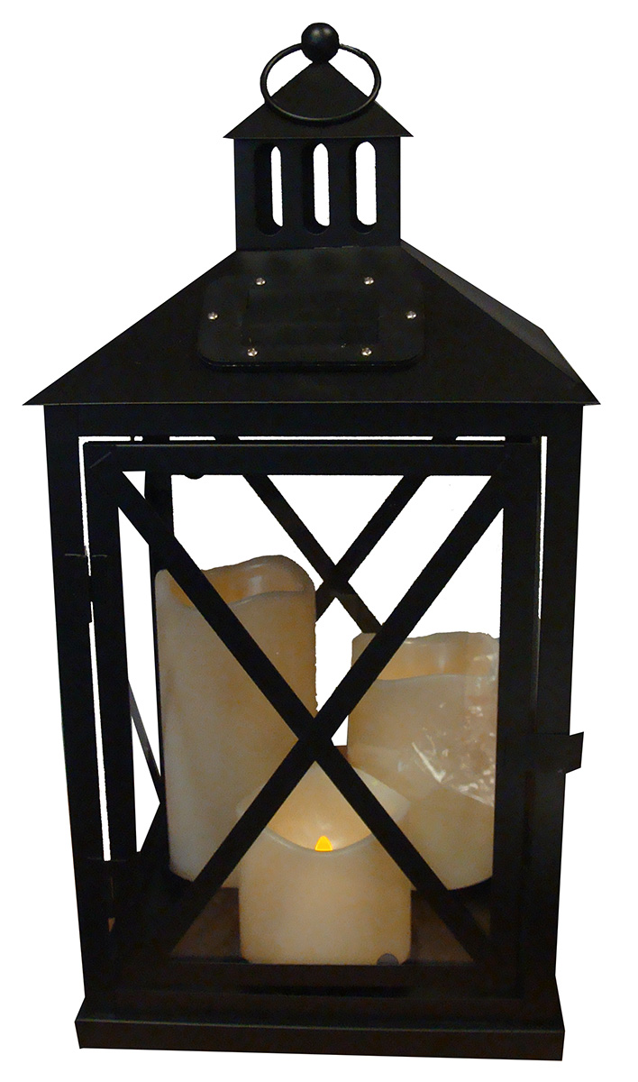 "Kaemingk 17"" Solar Powered Outdoor Patio Garden Black Triple Candle Lantern - Amber LED Flicker Light at Sears.com"
