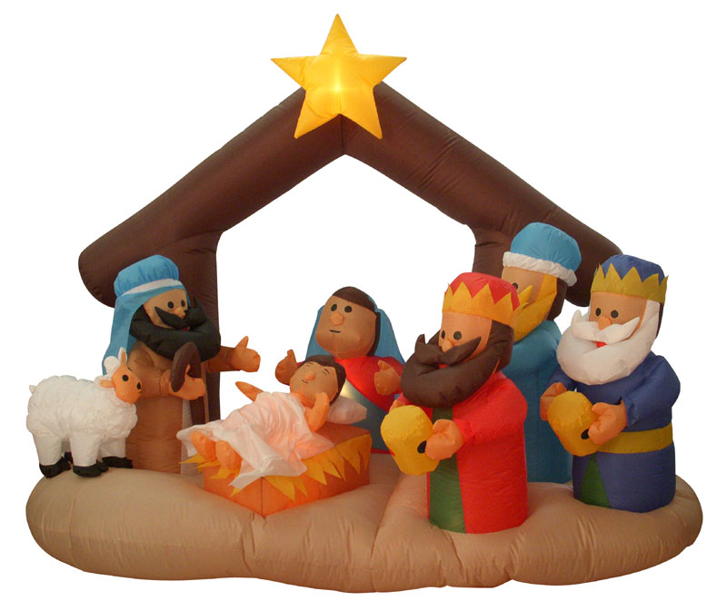 Airblown Inflatable Nativity Scene Lighted Christmas Yard Art ...