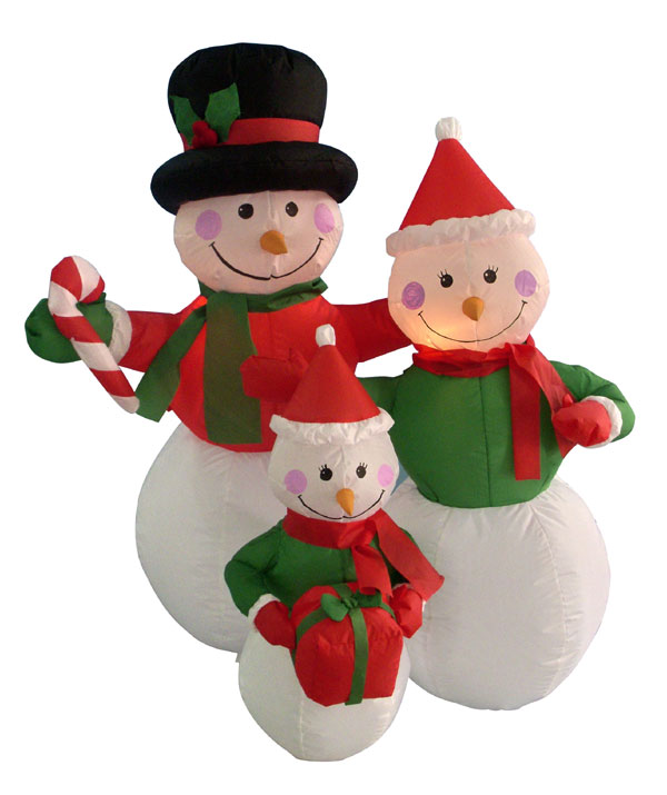 LB International 4' Airblown Inflatable Snowman Family Lighted Christmas Yard Art Decoration at Sears.com