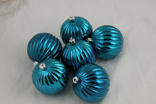 "CC Christmas Decor Pack of 6 Blue Shatterproof Ribbed Christmas Ball Ornaments 2.5"" at Sears.com"