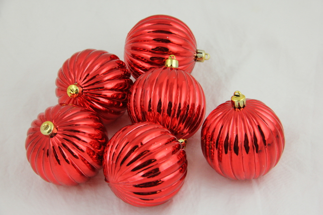"CC Christmas Decor Pack of 6 Red Shatterproof Ribbed Christmas Ball Ornaments 2.5"" at Sears.com"
