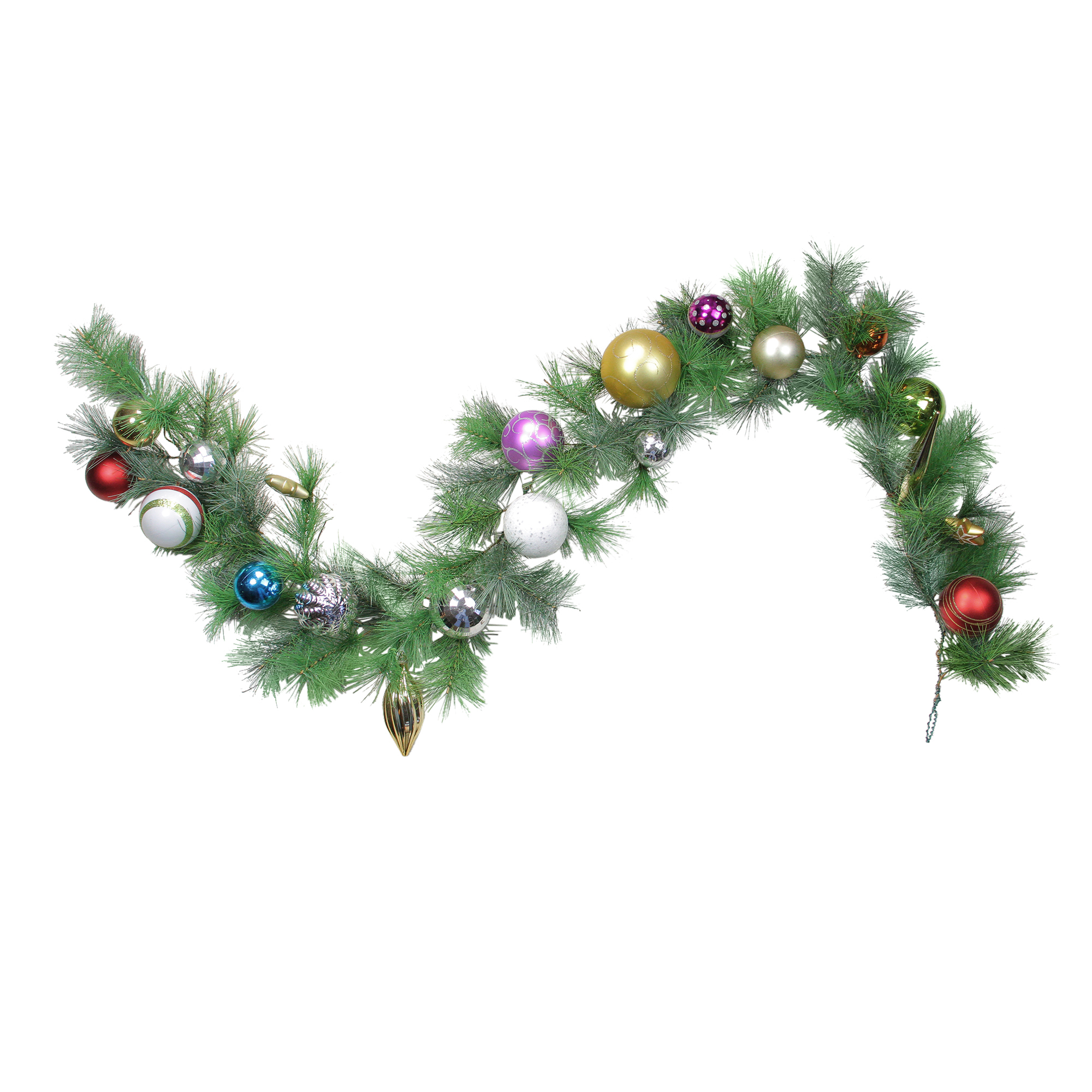 NorthLight 6' Pre-Decorated Multi-Color Ball Ornament Long Needle Pine Artificial Christmas Garland - Unlit