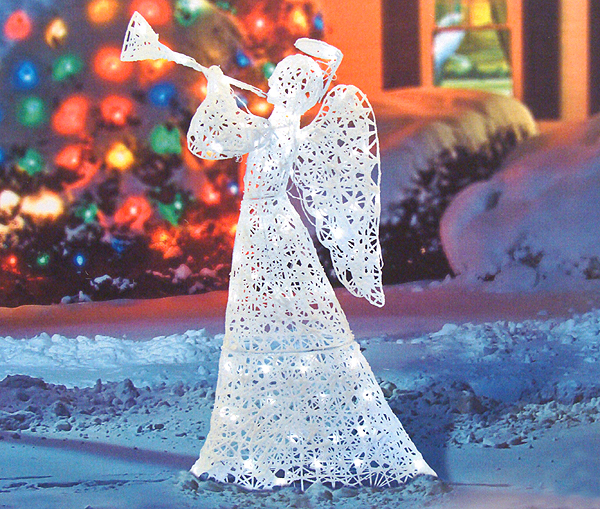 48 flocked trumpeting angel lighted christmas yard art for Angel outdoor decoration