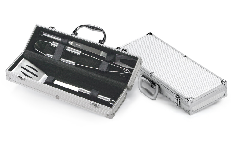 Stainless Steel Gourmet Barbecue Tool Set with Aluminum BBQ Carrying Case