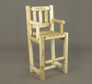 "Eco-Friendly Furnishings 48"" Natural Cedar Log Style Indoor Wooden Bar Stool with Arm Rests and Back at Sears.com"