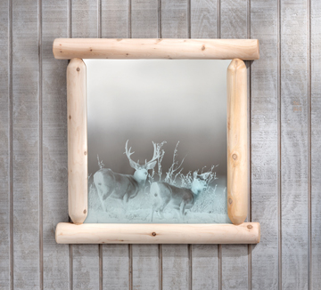 "Eco-Friendly Furnishings 27"" Natural Cedar Log-Style Outback Mirror with Deer Etching at Sears.com"