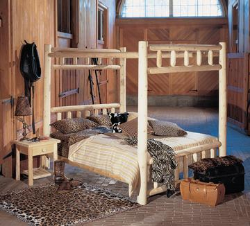 "Eco-Friendly Furnishings 80"" Cedar Log-Style Handcrafted Wooden Twin Canopy Bed Frame at Sears.com"