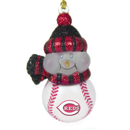 CC Sports Decor Pack of 3 MLB Cincinnati Reds Lighted LED Baseball Snowman Christmas Ornaments