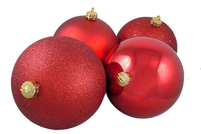 """NorthLight 4ct Shatterproof Red Hot 4-Finish Christmas Ball Ornaments 6"""" (150mm)"""