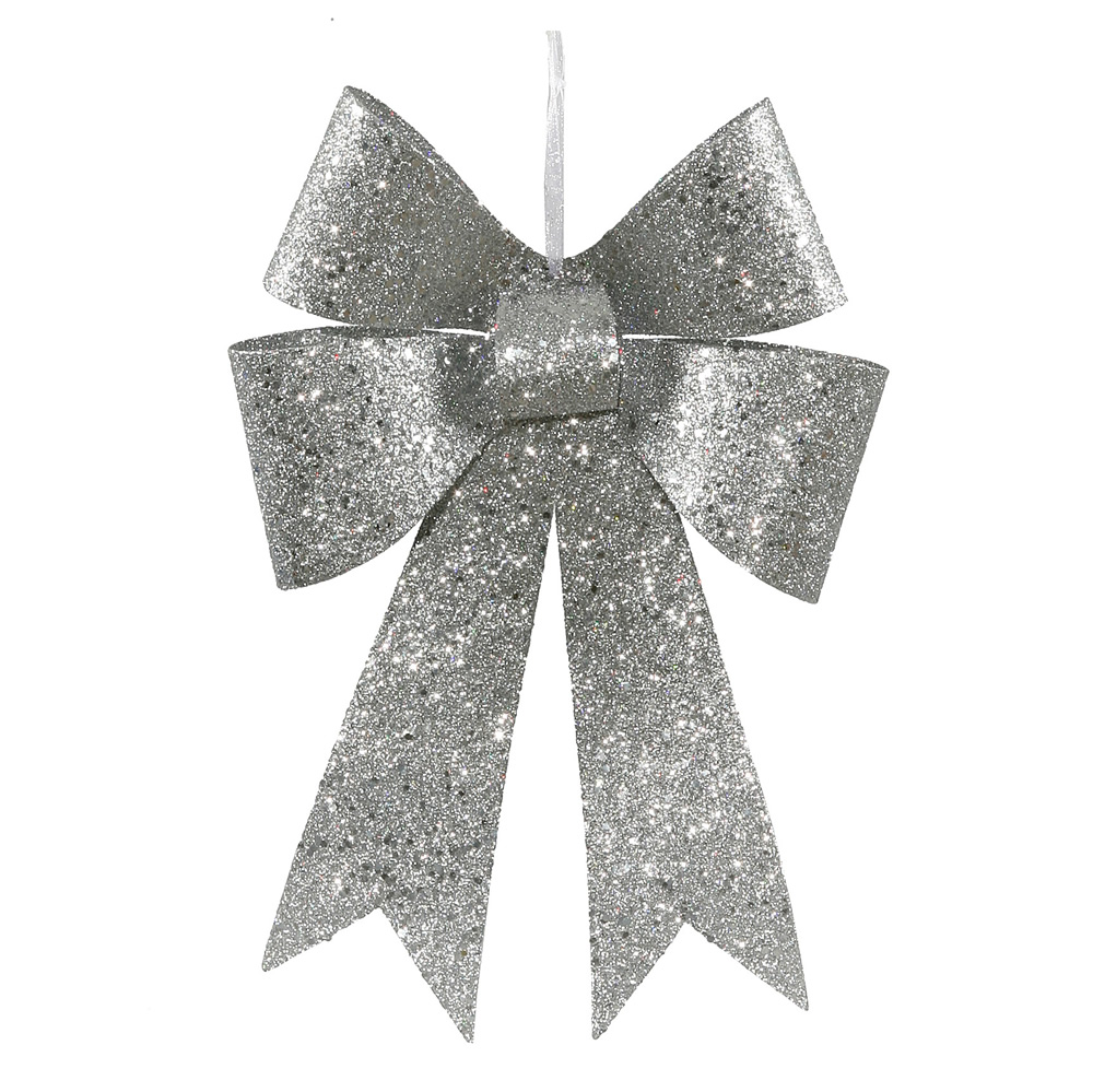 "Vickerman 12"" Silver Sequin and Glitter Bow Christmas Ornament"