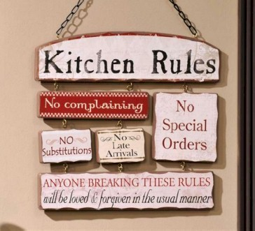 Wooden kitchen rules sign plaque metal wall decor ebay for Kitchen decoration signs