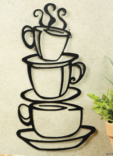 Details About Metal Hanging Stacked COFFEE CUP Kitchen Wall Decor