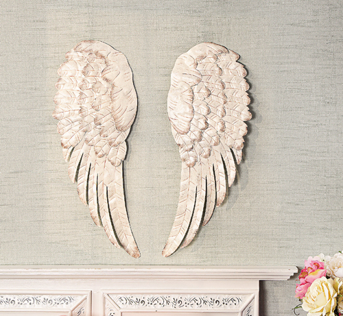 White metal angel wing wall decor set of 2 ebay for Angel wall decoration