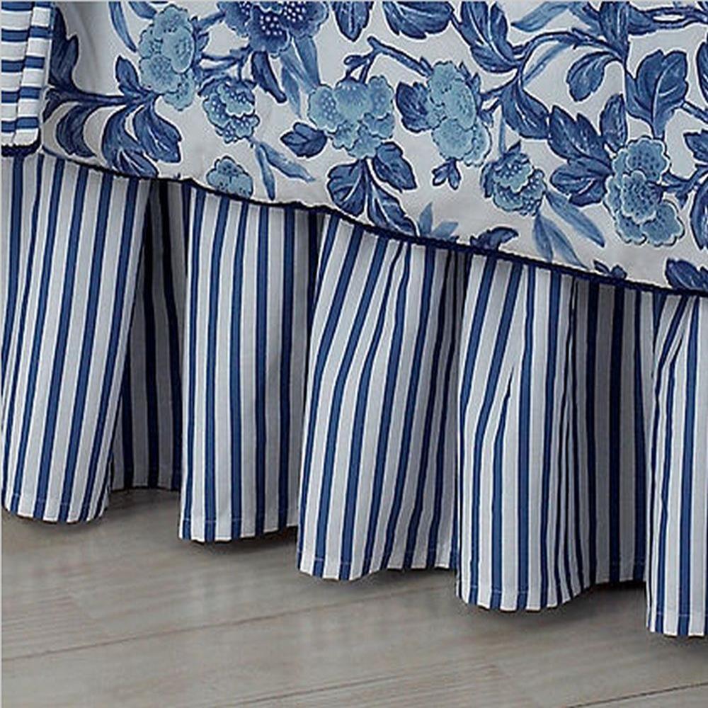 ralph adeline bedskirt blue white stripe