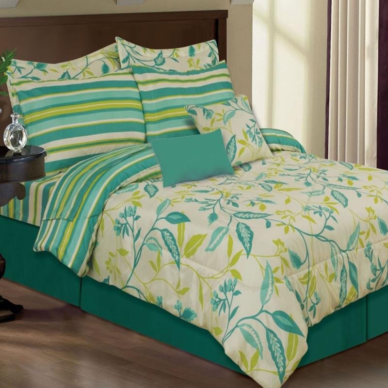 Akemi peacock reversible queen 8 piece comforter bed in a bag set ebay - Peacock bedspreads ...