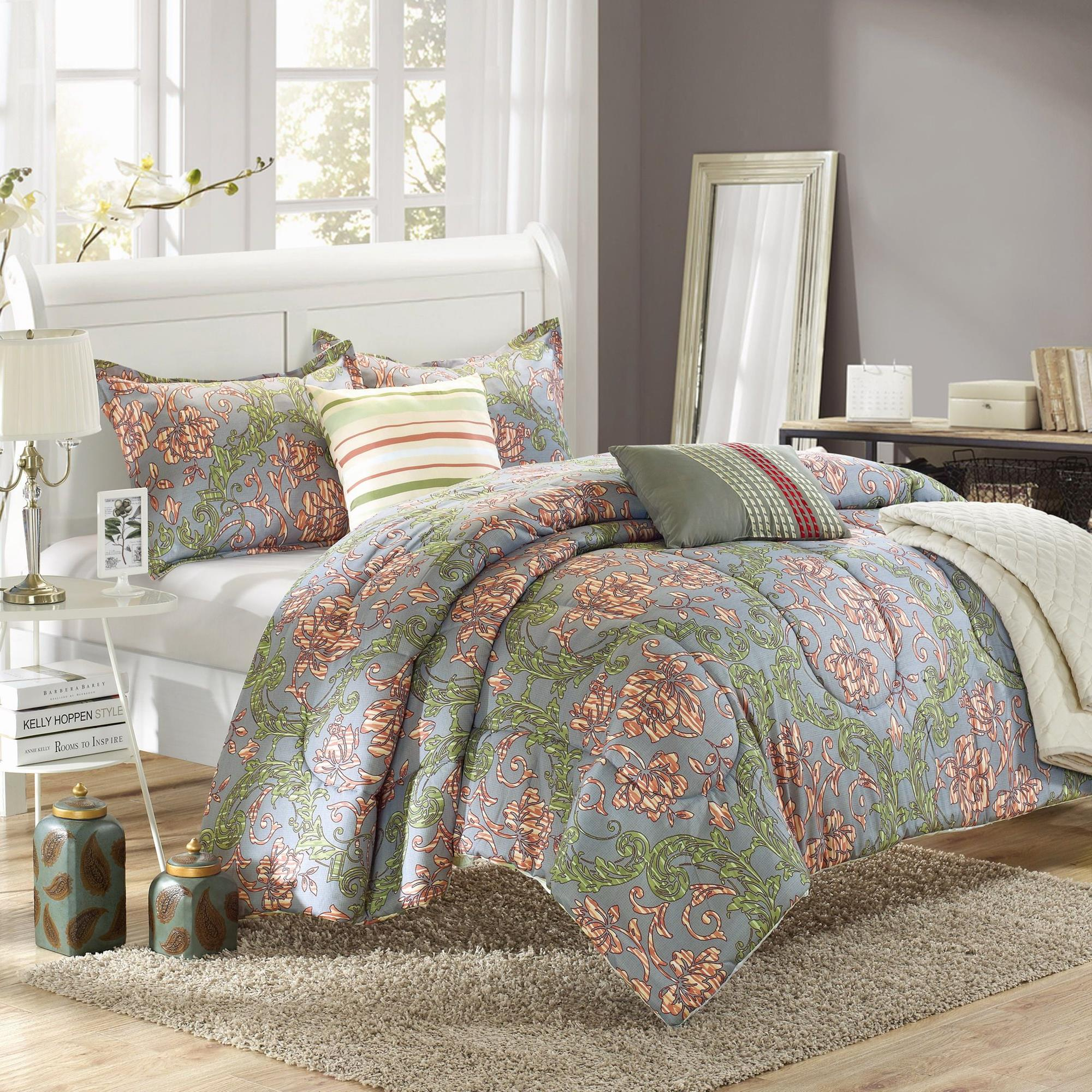 Chic Home Antica Floral Greens & Rose 10 Piece Embroidery Comforter Bed In A Bag Set at Sears.com