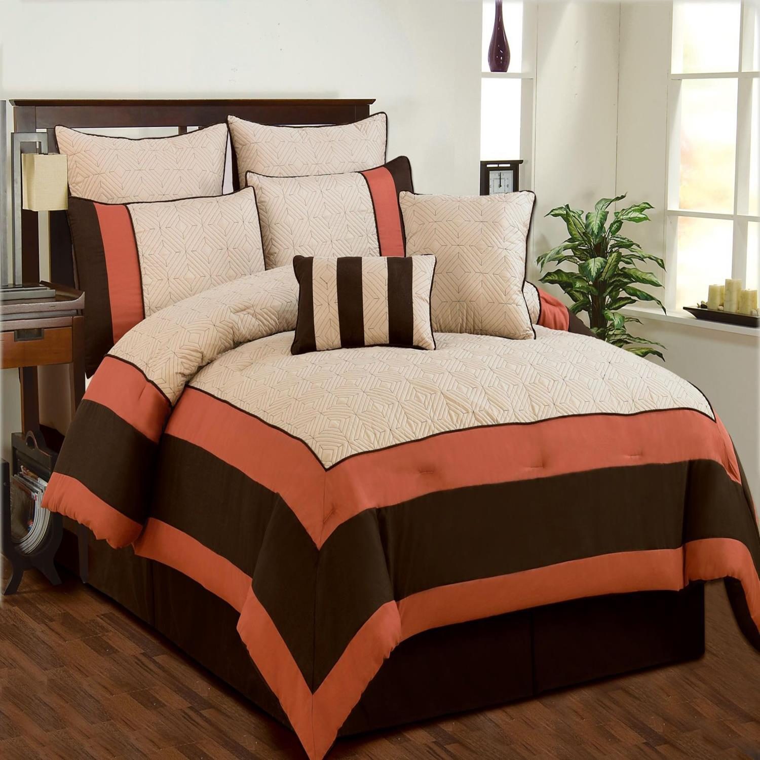 Aspen Beige Brown Coral Quilted forter Bed In A Bag