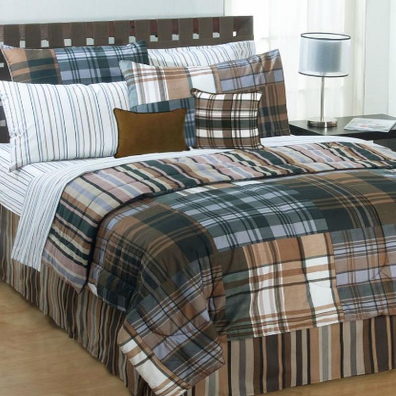 jay franco bentley plaid full comforter bed in a bag set bentley plaid new ebay. Black Bedroom Furniture Sets. Home Design Ideas