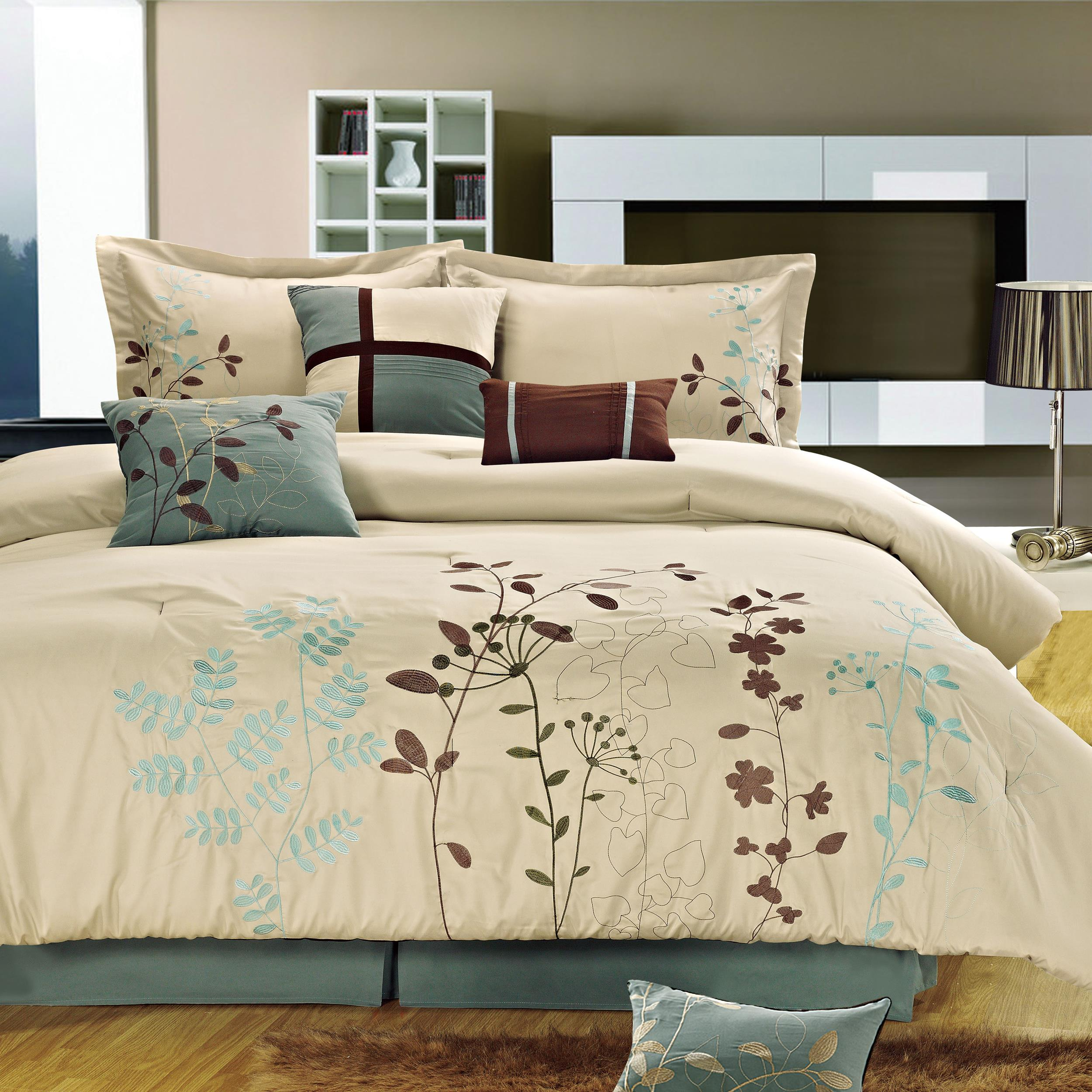 Chic Home Bliss Garden Beige Comforter Bed In A Bag Set with Sheet Set 12 Piece at Sears.com