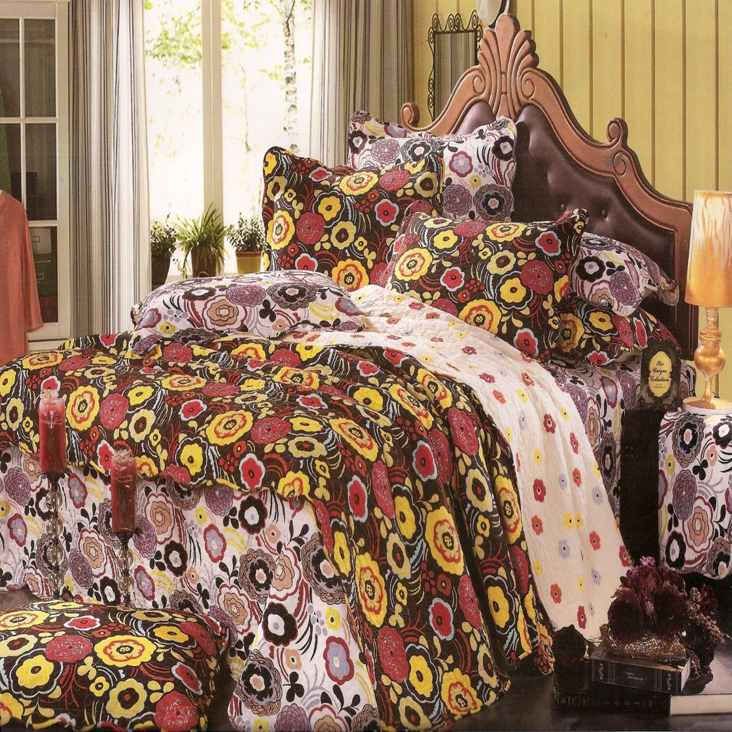 Home Collection Brown Mod Floral 250T Cotton Oversize Queen Quilt & Sham Set at Sears.com