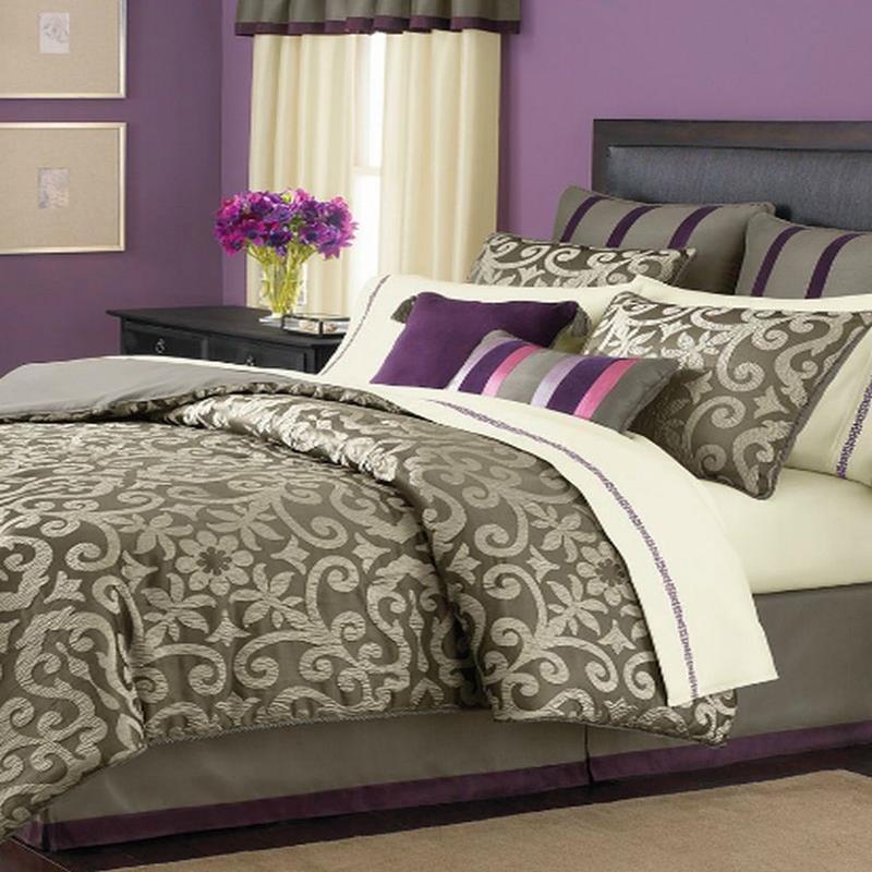 martha stewart brownstone damask queen 18 piece comforter bed in a bag set new ebay. Black Bedroom Furniture Sets. Home Design Ideas