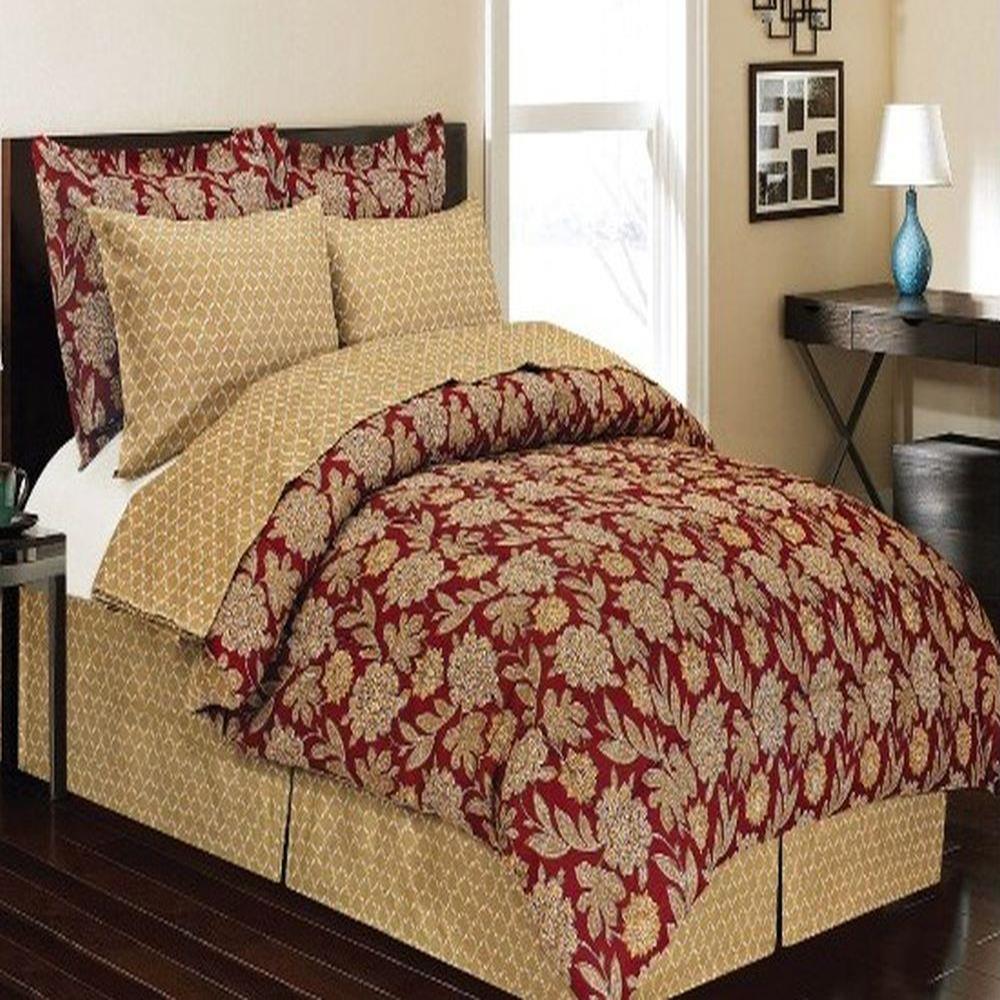 Burgundy Gold Floral 6 Piece Comforter Bed In A Bag Set