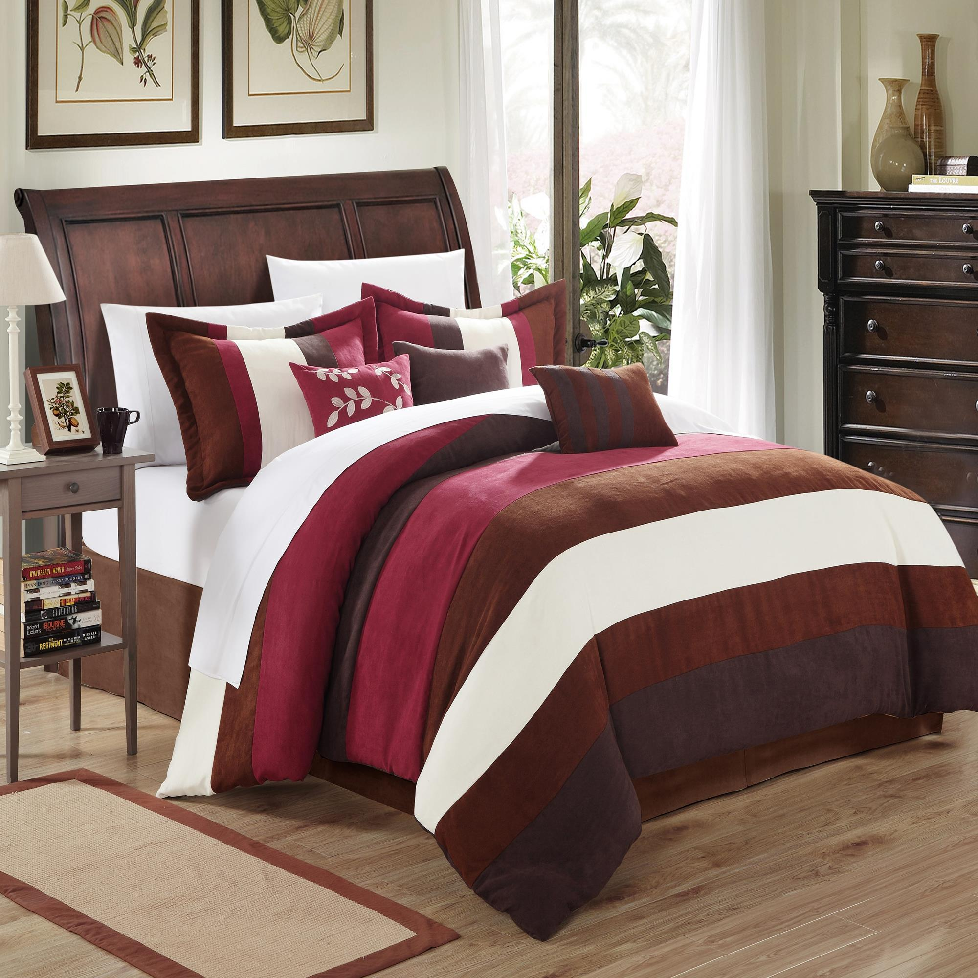 Chic Home Cathy Microsuede Burgundy, Brown, Ivory 7 Piece Comforter Bed In A Bag Set