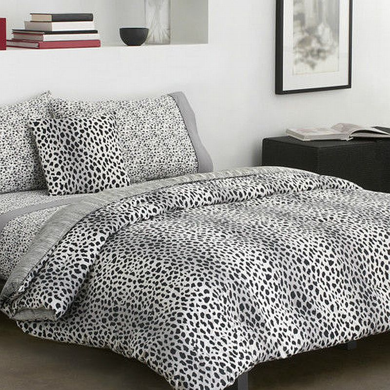 Dkny cheetah collection cotton twin comforter bed in a bag set grey