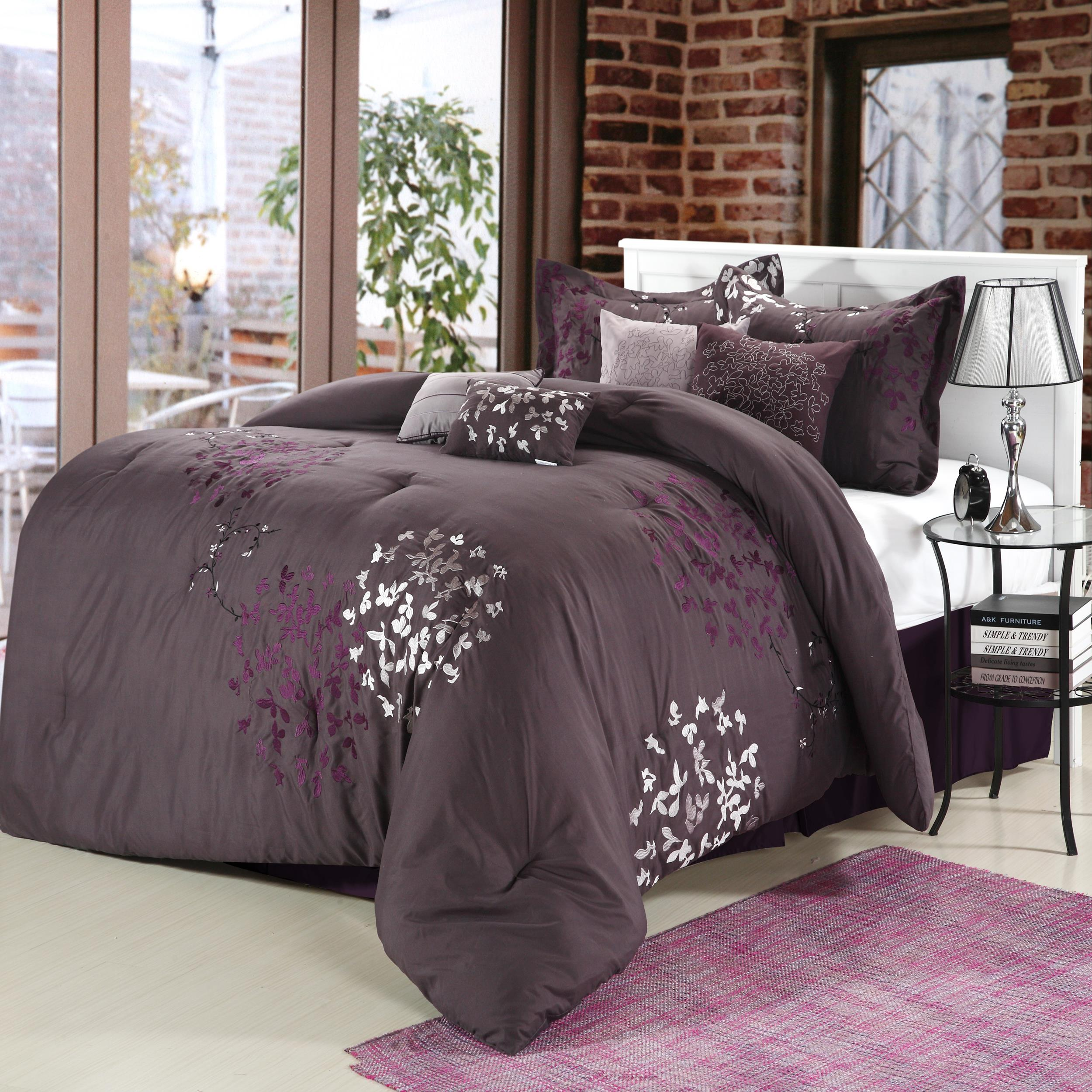 Cheila purple silver plum 8 piece comforter bed in a bag for Bedding violet