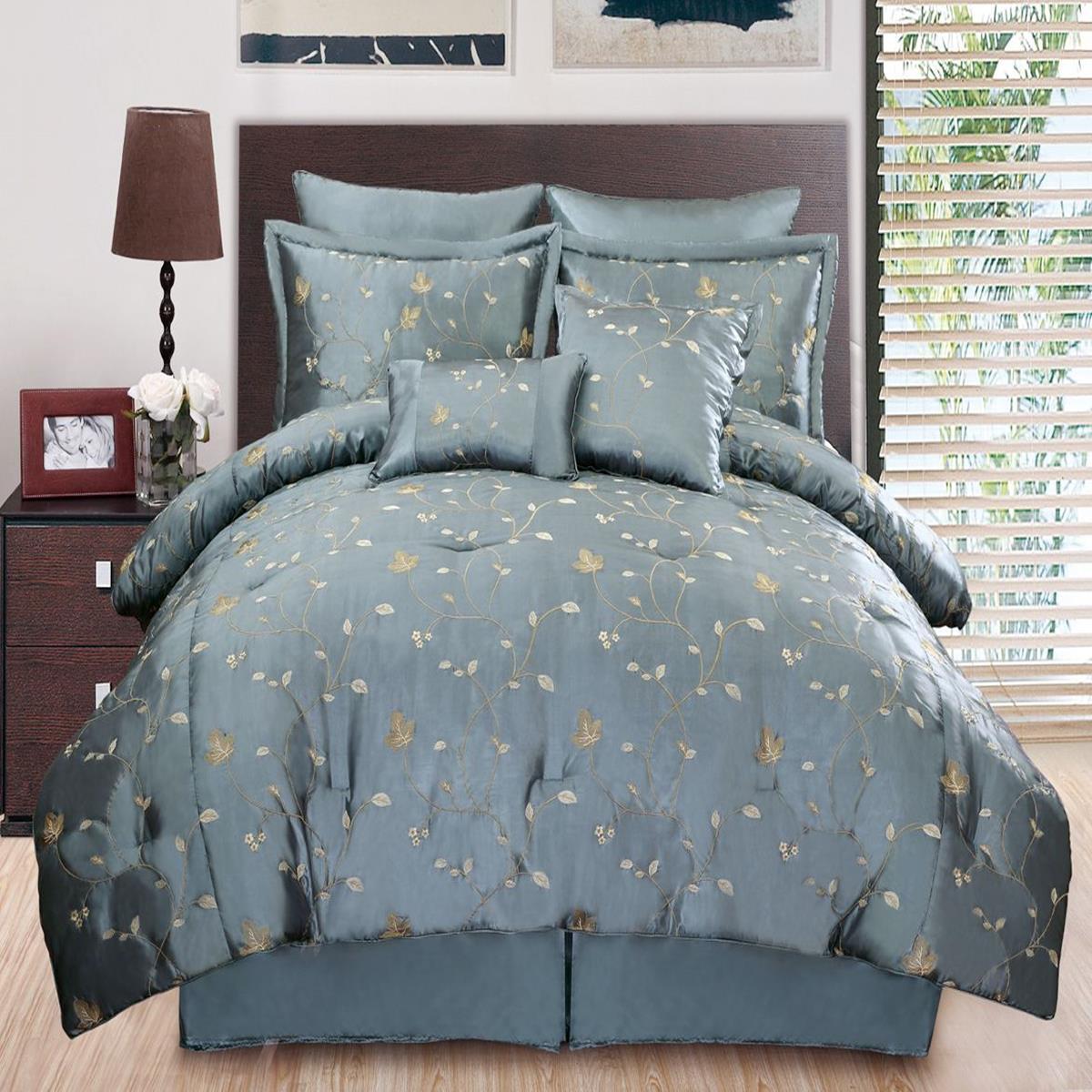 chester embroidered king blue gold 8 piece comforter bed in a bag set ebay. Black Bedroom Furniture Sets. Home Design Ideas